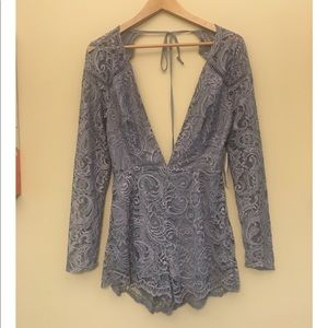 Tobi lace size Medium romper with plunging v NWT